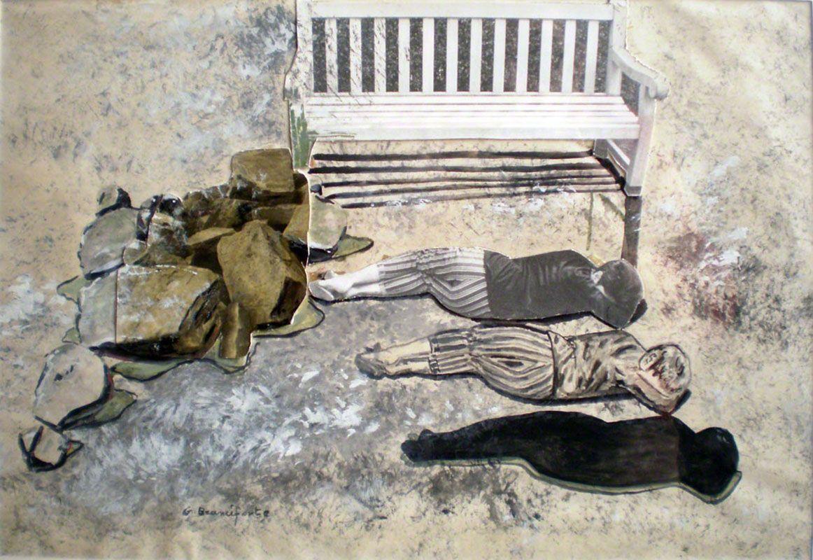 Branciforte, La panchina, tempera, acquerello e papier collè su cartone telato, cm. 50 x 60, Bologna, coll.ne privata