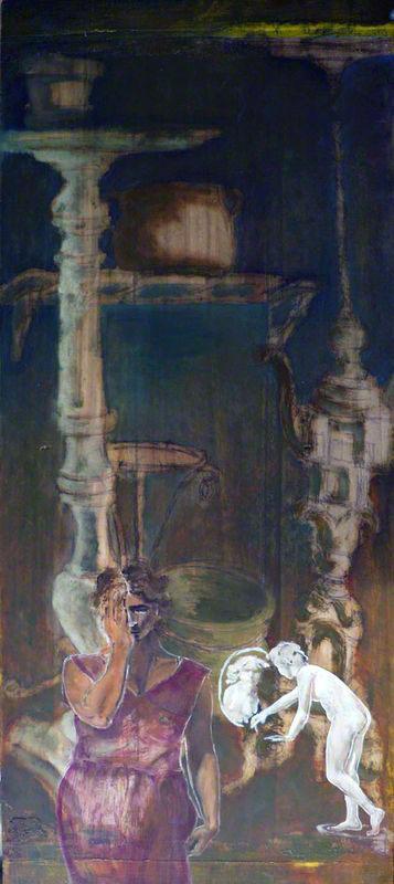 Branciforte Oggetti con donna che guarda, 2010, velatura ad olio su tavola, cm 103 x 42, Staffolo, Coll.ne privata