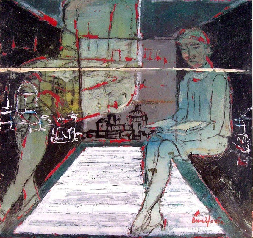 Branciforte recensioni - Donna che legge, 2014, tecnica mista su tavola, cm 23 x 24
