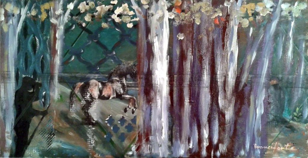 Branciforte recensioni - Attimi sul finire della notte, 2015, olio e papier collè su tavola, cm 40 x 80