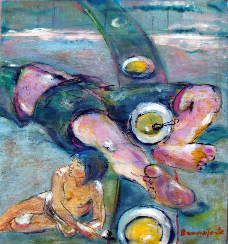 Branciforte, Davide e Golia, olio, matite colorate e pastelli su tavola, cm 41 x 38
